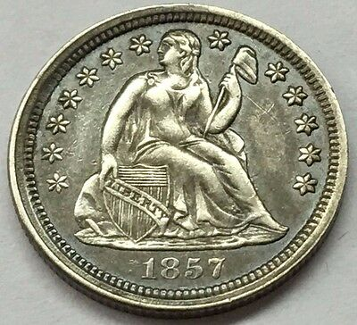 1857 Seated Liberty Silver Dime With Full Liberty U.s. Coin * Free Ship & Track
