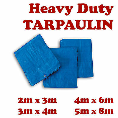 5 Sizes Of Heavy Duty Tarpaulin Waterproof Cover Tarp Ground Camping Sheet New B