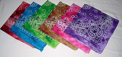 New Unisex 100% Cotton Bandana/Head Wrap/Scarf, Tie Dye Paisley Assortment