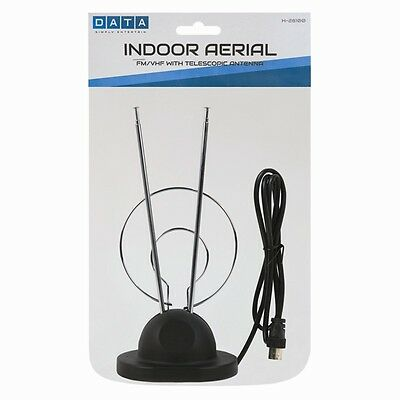 Indoor TV Aerial Portable HD With Telescopic Antenna FM/VFH For Home Office Work