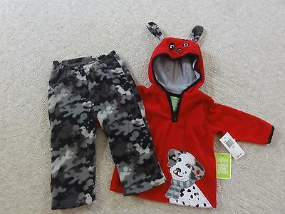 SESAME STREET boy 2pc FLEECE  HOODIE AND PANT SET RED GREY DOG 12  Months  NEW