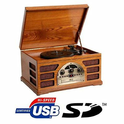 Wooden CD Player Retro Turntable Radio AM FM 3 Speed Music Speakers USB SD Card