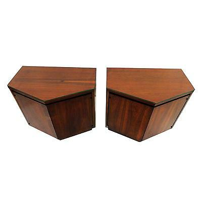 Mid Century Modern Lane Walnut Nighstands/End Tables/Side Tables w/Glass Tops