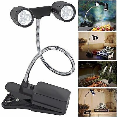 Adjustable 6 LED Flexible 2 Head BBQ Clip On Light Barbeque Barbecue Table Lamp