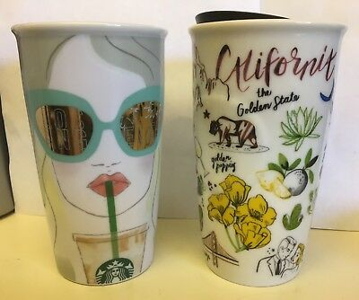 "2 NEW STARBUCKS  ""LOS ANGELES 2016 & California"" CERAMIC  TRAVELER TUMBLER MUG"
