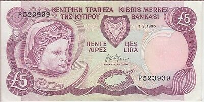 CYPRUS BANKNOTE P54b-3939 5 POUNDS 1.9.1995 EXTRA FINE PLUS