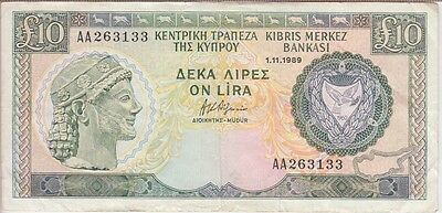 CYPRUS BANKNOTE P#55a-3133 10 POUNDS 1.11.1989 VERY FINE