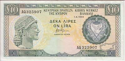 CYPRUS BANKNOTE P#55c-5907 10 POUNDS 1994 VERY FINE PLUS