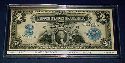 HIGHER GRADE 1899 Mini PORTHOLE Silver Certificate $2 Two Dollar LARGE Note