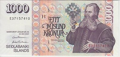 Iceland P- New 1000 1.000 1,000 Kronur 2001, Two Signatures, Uncirculated