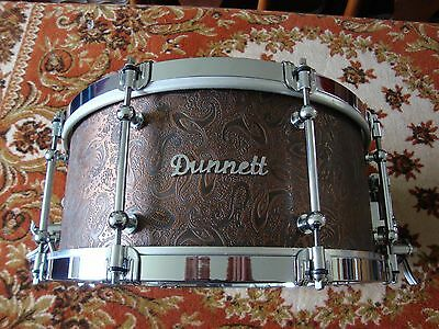 "Dunnett 14"" x 6.5"" Trussart Steel Snare Drum with Antique Copper Paisley Design"