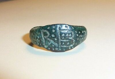 Ancient Roman Bronze Monogram Ring