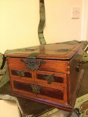 Antique Mirrored Travel Vanity Drawers/Jewellery Box