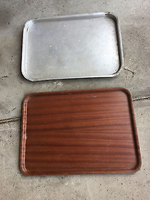 2 Very Large Serving Trays/ Platters - Wood And Metal - Great For Entertaining