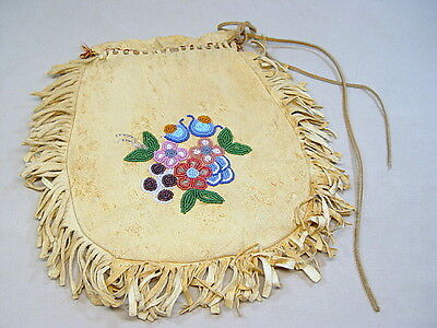 Antique Beaded Leather Purse Bag or Pouch w Floral Beadwork & Fringe
