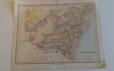 Vintage map New South Wales Australia William Collins Sons and Co  one sheet