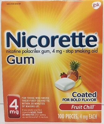 (New) Nicorette Gum 4 mg Fruit Chill -Stop Smoking - 100 pieces
