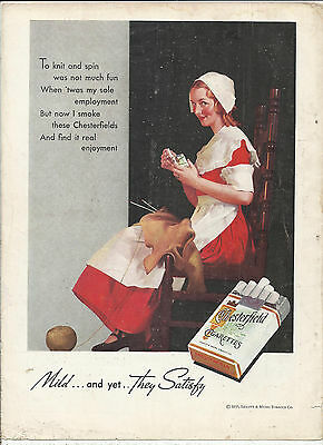 1935 Chesterfield Cigarettes Advertisement *Mild and yet They Satisfy*
