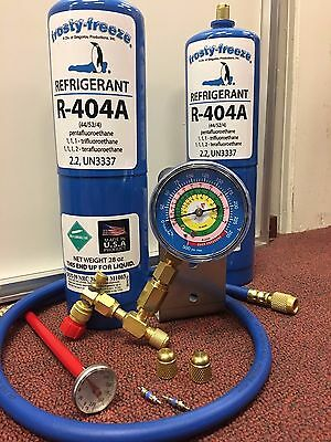 R404a, Recharge Kit, (2) cans 28 oz.ea , w/Check & Charge-It Gauge Charging Hose