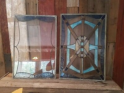 """VINTAGE STAINED GLASS WINDOWS 24 5/8""""x16 3/4, 24x16. Both4 one price"""