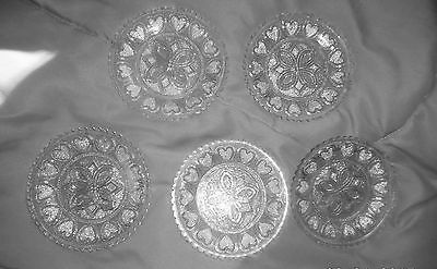 5 BOSTON & SANDWICH LACY FLINT GLASS CUP PLATES STIPPLED HEARTS 3of3