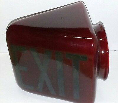 Antique Vintage EXIT Sign Lamp Light Ruby Red Glass Globe Theater Art Deco