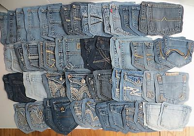 Lot of Mixed Blue Jeans Denim Back Pockets Sewing Crafts Quilts 28 Pair