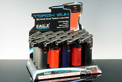 Eagle Jet Torch Gun Lighter Adjustable Flame Windproof Butane Refillable - Blue
