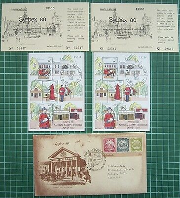 SYDPEX 80 2 ENTRY TICKETS + 2 OVERPRINTED MINI SHEETS NO.19246 + 19247 + usedpse