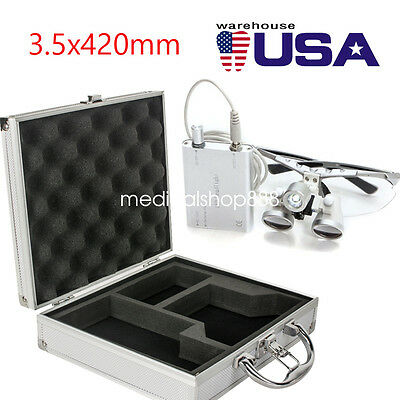 NEW Dental Surgical Binocular Loupes 3.5x 420mm + LED Head Light + Aluminum Case