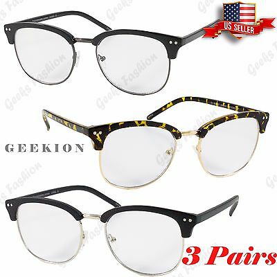da4ec626b2 3 Pairs Men Women Retro Clear Lens Clubmaster 80s Inspired Nerd Hipster  Glasses
