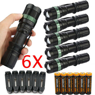 Ultrafire Tactical 90000Lumens T6 LED Zoomable Focus Flashlight 18650&US Charger