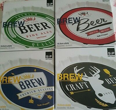 4 Salt and Pepper Beer Plates. New in box. Beer theme.