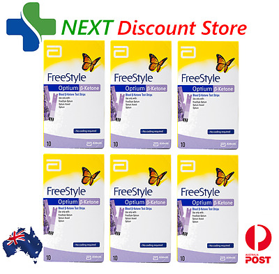 Ketone Test Strips 6x 10 Pack (60 Strips) FreeStyle Optium Blood Abbott UnOpened