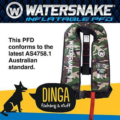 Watersnake Camo Inflatable PFD Life Jacket Adult Level 150 Manual