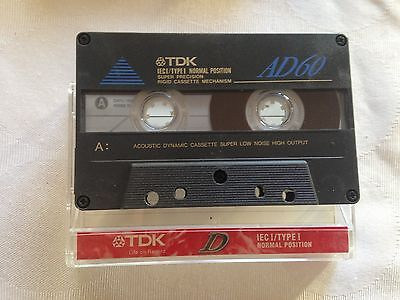 TDK AD60  IEC I type I Audio Cassette Tape Made in Korea, assembled Thailand