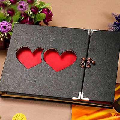 10 Inch Solid Cover Memory DIY Photo Album Book Holder Black & Heart to Heart