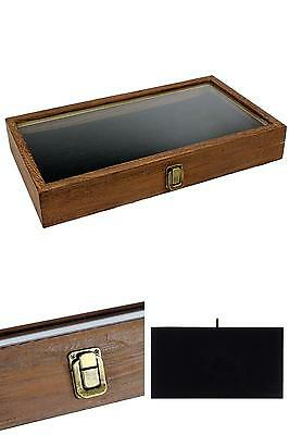 Display Box Case Natural Wood Glass Top Lid Black Pad Medals Awards Jewelry