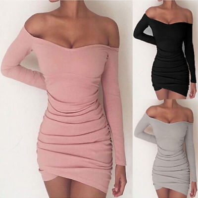 Womens Sexy Bodycon Off Shoulder Evening Party Cocktail Short Mini Dress UK 6-22