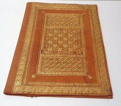 Vintage Moroccan Leather Book Journal Bible Cover Document Jacket 22 Carat Gold