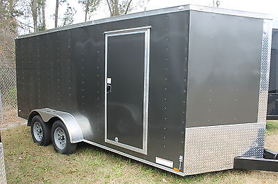 7x16 Enclosed Trailer Cargo V-Nose New 14 Utility Motorcycle 6 Landscape 18 Call