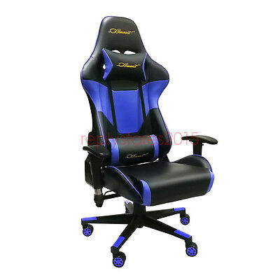 Baesset Gaming Chair High Back PU Lumbar Racing Computer Office Seat Desk Blue