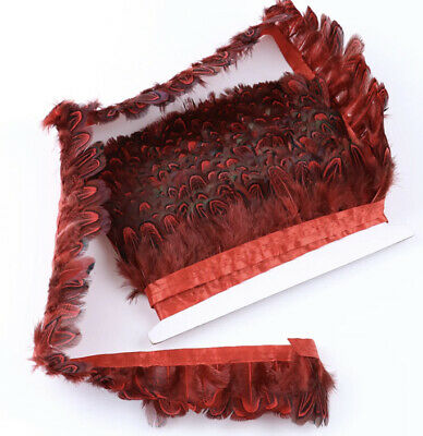 RED Almond Pheasant 5cm Feather Fringe Ribbon Trim Price for 30cm DIY Craft
