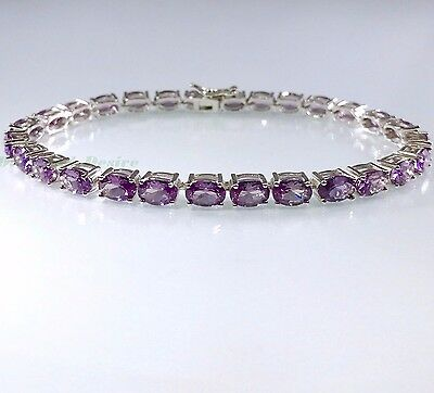 16ct Alexandrite AAA White Gold on 925 Sterling Silver Tennis Bracelet 7.25 or 8