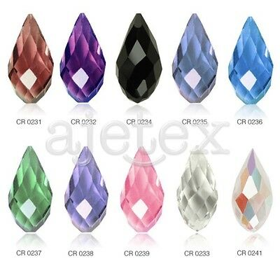 10pcs 12x6mm Teardrop Loose Faceted Crystal Beads Charms Jewelry Making DIY