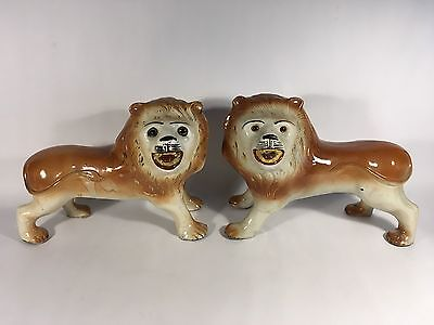 Antique Staffordshire Smiling Lions Pair Glass Eyes 19Th Century Large