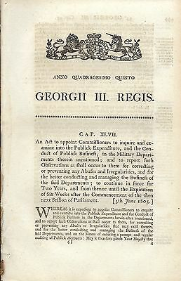 Act of Parliament George III, 1805