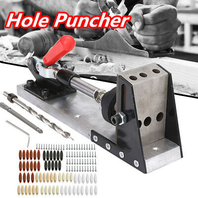 Woodworking Tool Pocket Hole Puncher Drill Jig System Position Clamp Driller Set