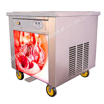 Roll-Eis-Maschine mit Kompressor, Eisplatte 60x60cm Ice Cream Rolls Machine