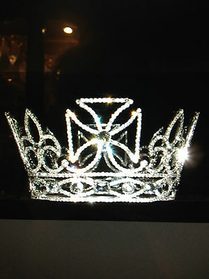 GENUINE CRYSTAL GENTS MANS FULL CROWN wedding bridal tiara PRINCE KING  UK